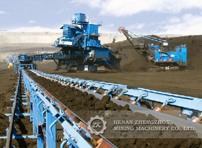 Mine rubber belt conveyor for coal